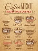 coffee menu kraft - stock illustration