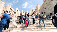 Acropolis citadel upstairs in athens dolly Stock Footage