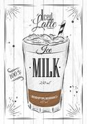 Poster iced latte Stock Illustration
