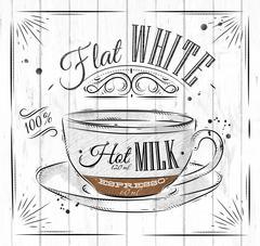 Poster flat white - stock illustration