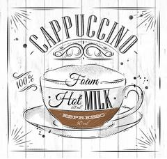 Poster cappuccino - stock illustration