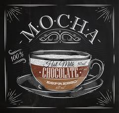 Poster mocha chalk - stock illustration