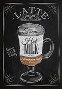Poster latte chalk - stock illustration