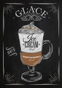 Poster glace chalk - stock illustration