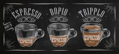 Poster espresso chalk - stock illustration
