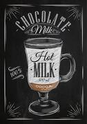 Poster chocolate milk chalk - stock illustration
