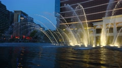 Dazzling fountain show at Wynn macau's performance lake in Macau, China. Stock Footage