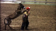 1955: Rodeo comedy clown carrying lazy donkey on shoulders trick. Stock Footage