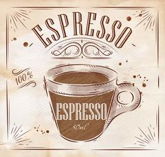 Poster espresso kraft - stock illustration