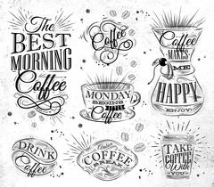 Coffee signs - stock illustration