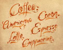 Lettering coffee drops kraft Stock Illustration