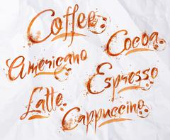 Lettering coffee drops Stock Illustration