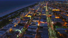 Awesome night drone aerial Miami Beach 4k Stock Footage
