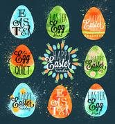 Happy easter egg blue - stock illustration