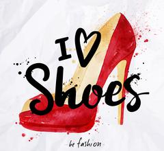 Watercolor poster lettering i love shoes - stock illustration