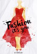 Watercolor poster lettering fashion its you - stock illustration