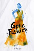 Watercolor poster lettering gone fashion - stock illustration