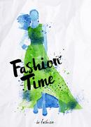 Watercolor poster lettering fashion time Stock Illustration