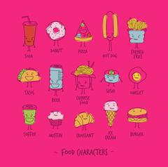 Food characters pink - stock illustration
