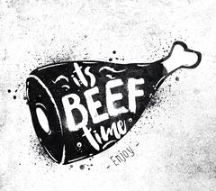 Poster beef - stock illustration