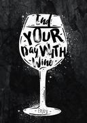 Poster wine chalk - stock illustration
