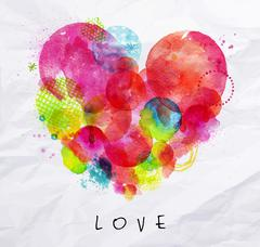 Watercolor poster love - stock illustration