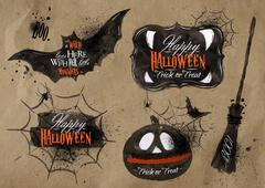 Halloween set symbols lettering kraft Stock Illustration