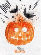 Pumpkin halloween poster Stock Illustration