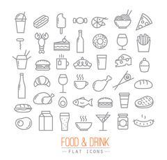 Flat food icons - stock illustration