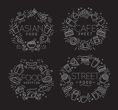 Food monograms black Stock Illustration