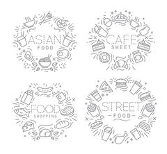 Food monograms - stock illustration