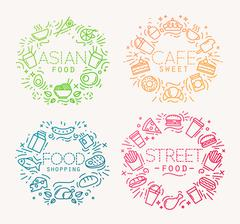Food monograms color - stock illustration
