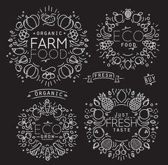 Fruits Vegetables Monogram Black - stock illustration
