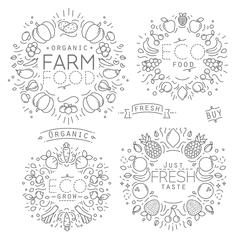 Fruits Vegetables Monograms - stock illustration