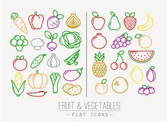Flat Fruits Vegetables Icons Color Stock Illustration