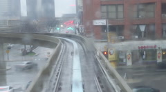 Detroit Skytrain Rainy Day  Stock Footage