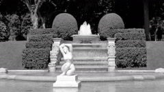 Statue fountain Jardins Del Palau Pedralbes Barcelona Spain-B W Stock Footage