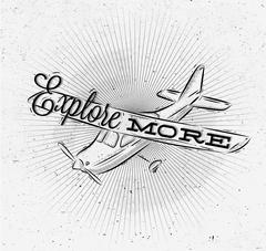 Tourist poster plane Stock Illustration