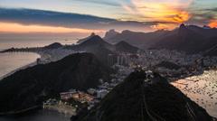 City view from Sugar Loaf Mountain (Pao de Acucar), Rio de Janeiro, Brazil - stock footage