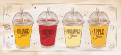 Poster set of juice retro Stock Illustration
