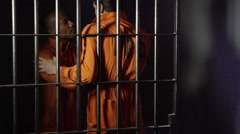 Prison fight - assaulting inmate in jail - stock footage
