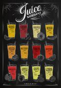 Poster juice menu chalk - stock illustration