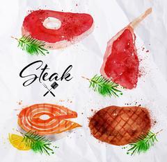Set steak watercolor - stock illustration