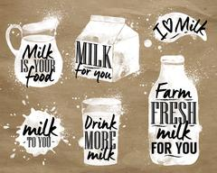 Milk symbolic drawing kraft Stock Illustration