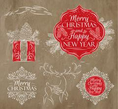 Merry Christmas graphics elegant vintage kraft - stock illustration