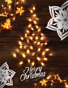 Christmas tree garland poster - stock illustration