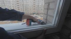 Installation of plastic windows Stock Footage