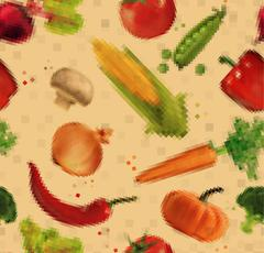 Pattern pixel vegetables kraft - stock illustration