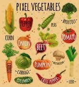 Pixel vegetables kraft - stock illustration