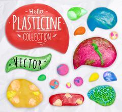 Set of plasticine symbols - stock illustration